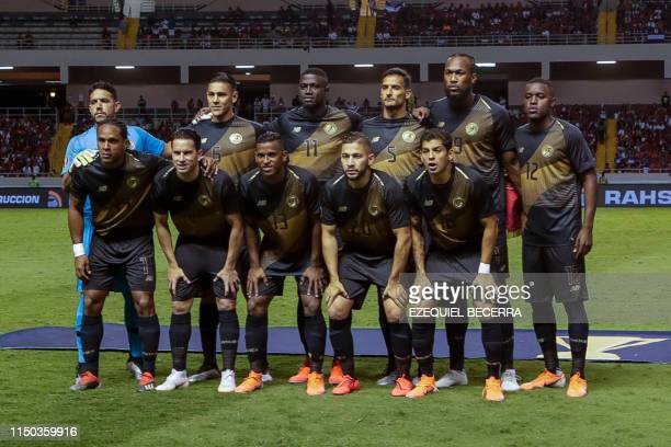 Costa Rica's national football team players pose for pictures before their CONCACAF Gold Cup 2019 football match against Nicaragua, at the National...