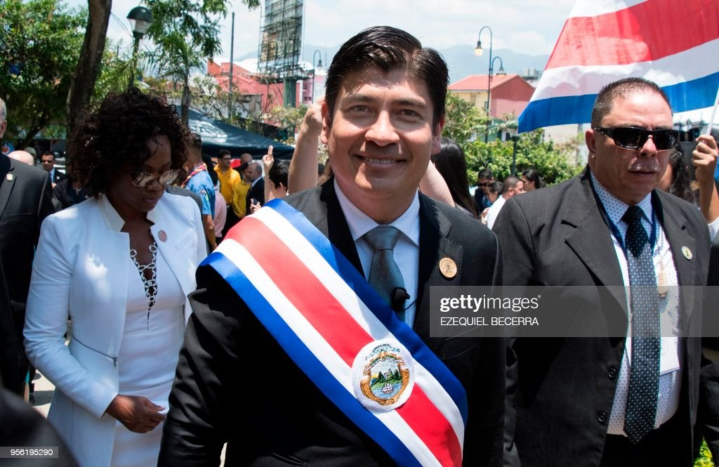 Costa Rica's President Carlos Alvarado leaves after his inauguration ceremony in San Jose, on May 08, 2018. - Costa Rica sworn in its new president at the head of a multi-party government facing challenges from climbing crime and looming migration to a growing deficit.