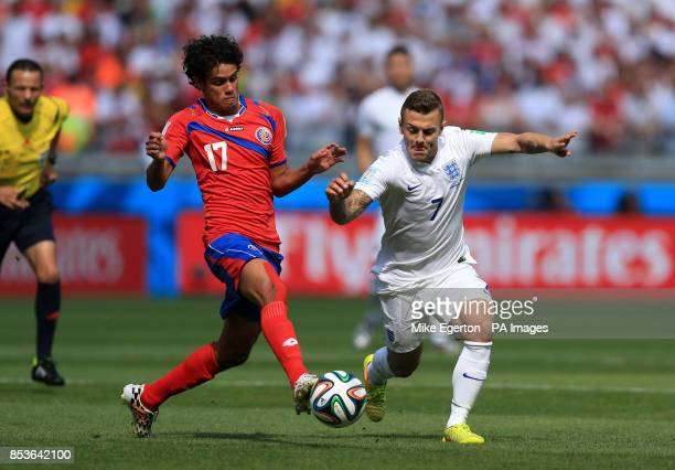 Costa Rica's Yeltsin Tejeda and Jack Wilshere battle for the ball during the FIFA World Cup, Group D match at the Estadio Mineirao, Belo Horizonte,...