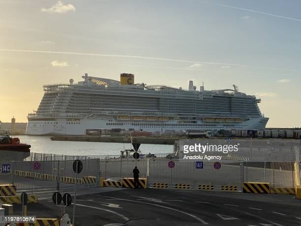 Costa Smeralda cruise ship is seen docked at Civitavecchia port after one passenger fell ill with a high fever on January 30 2020 in Rome Italy...
