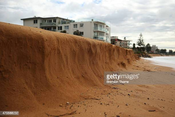 Costal erosion is seen at Narrabeen beach due to the wild weather on April 22, 2015 in Sydney, Australia. Three people have died and more than...