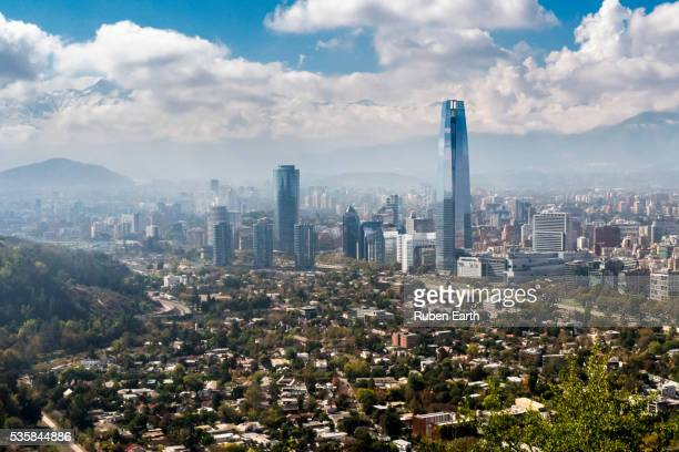 costanera tower and city skyline - chile stock pictures, royalty-free photos & images