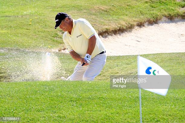 Costantino Rocca of Italy in action during the first round of the Belas Clube de Campo Senior Open de Portugal played at Belas Clube de Campo on...