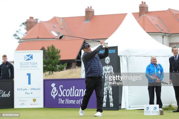 Costantino Rocca of Italy in action during the first round of the Scottish Senior Open at The Renaissance Club on August 4 2017 in North Berwick...