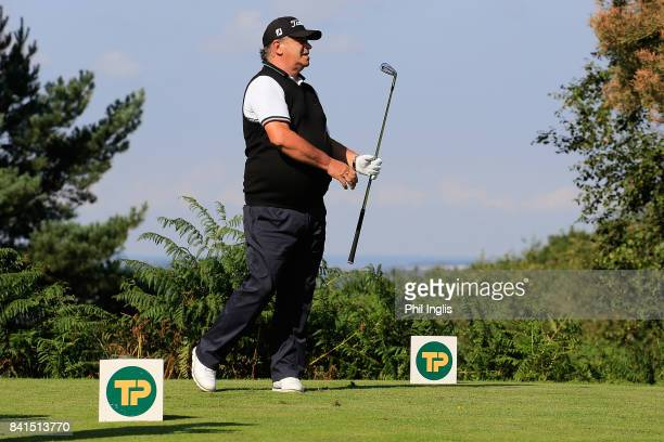 Costantino Rocca of Italy in action during the first round of the Travis Perkins Senior Masters played on the Duke's Course at Woburn Golf Club on...