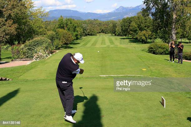 Costantino Rocca of Italy in action during the first round of the Senior Italian Open presented by Villaverde Resort played at Golf Club Udine on...