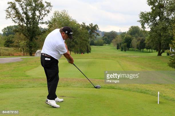 Costantino Rocca of Italy in action during the second round of the Senior Italian Open presented by Villaverde Resort at Golf Club Udine on September...