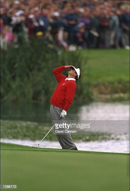 Costantino Rocca of Italy plays a poor pitch on the 18th during the Ryder Cup at The Belfry Golf Club in Sutton Coldfield England USA won the event...
