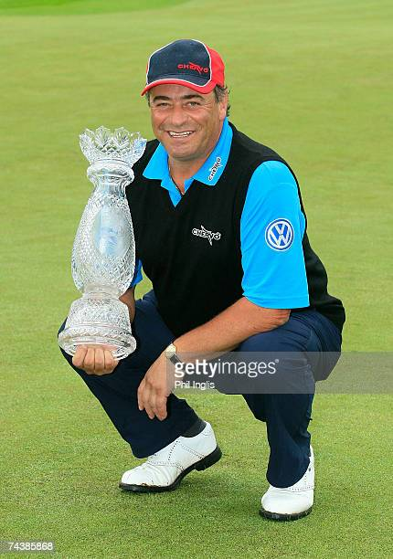Costantino Rocca of Italy poses with the trophy after the final round of the AIB Irish Seniors Open played at the PGA National Palmerstown House on...