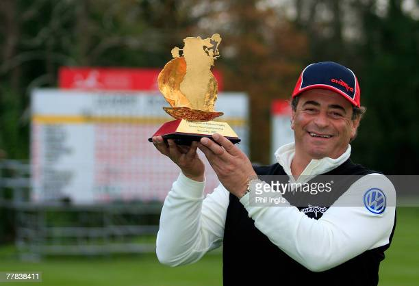 Costantino Rocca of Italy poses with the trophy after the final round of The Kingdom of Bahrain Trophy played at The Buckinghamshire Golf Club on...