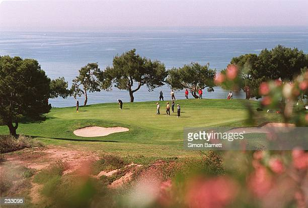 Costantino ROCCA OF ITALY ROLLS IN A PUTT FOR A BIRDIE TWO ON THE IDYLLIC SETTING OF THE THIRD, THE ''SIGNATURE HOLE'' OF TORREY PINES SOUTH, DURING...