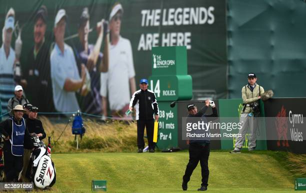 Costantino Rocca of Italy tees off on the 14th hole during the second round of the Senior Open Championship presented by Rolex at Royal Porthcawl...