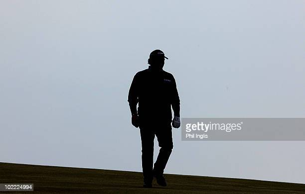 Costantino Rocca of Italy walks the course during the second round of the Ryder Cup Wales Seniors Open played at Royal Porthcawl Golf Club on June 19...