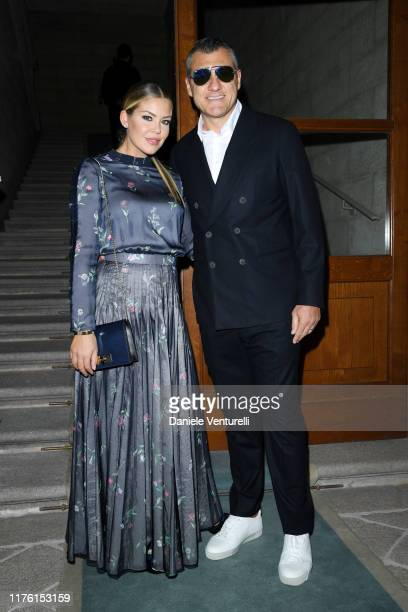 Costanza Caracciolo and Christian Vieri attend the Giorgio Armani fashion show during the Milan Fashion Week Spring/Summer 2020 on September 21 2019...