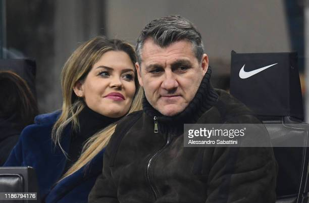Costanza Caracciolo and Christian Vieri attend the Serie A match between FC Internazionale and AS Roma at Stadio Giuseppe Meazza on December 6 2019...