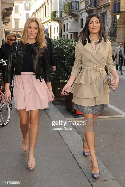 Costanza Caracciolo and Federica Nargi arrives at Hotel Four season on March 22 2012 in Milan Italy