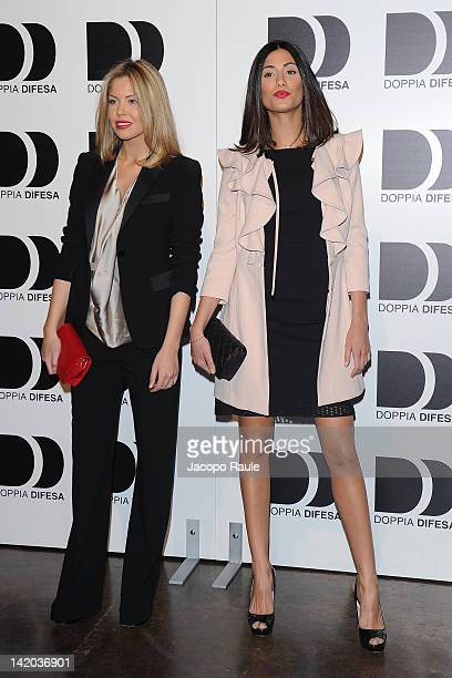Costanza Caracciolo and Federica Nargi attend 2012 Doppia Difesa Cocktail Party on March 28 2012 in Milan Italy