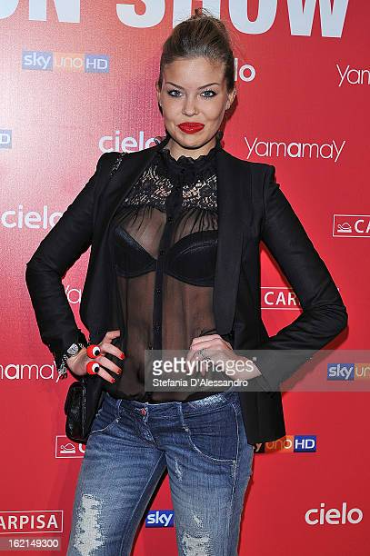 Costanza Caracciolo attends Yamamay Fashion Show cocktail party during Milan Fashion Week Fall/Winter 2013/14 at the Alcatraz on February 19 2013 in...