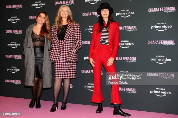 Costanza Cicero Joanne Bergamin and Camilla Alibrandi attend the premiere of the movie Chiara Ferragni Unposted on November 19 2019 in Rome Italy