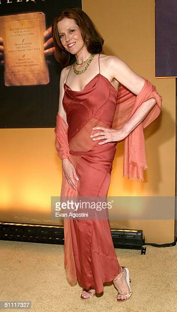 Costar of the new film The Village actress Sigourney Weaver arrives at Prospect Park for the film premiere July 26 2004 in New York City