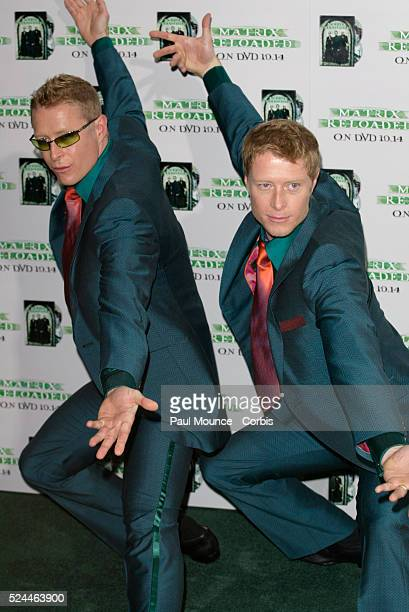 costars Adrian and Neil Rayment arrive at the launch party celebrating the Warner Home Video release of 'The Matrix Reloaded'