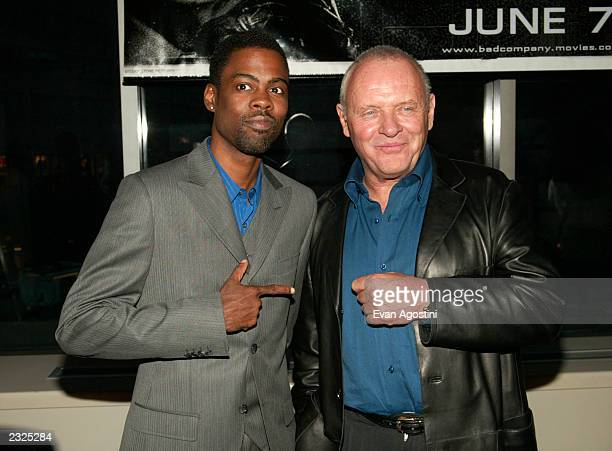 Costars Chris Rock and Anthony Hopkins at the world premiere of Bad Company at Loews Lincoln Square Theater in New York City June 4 2002 Photo Evan...