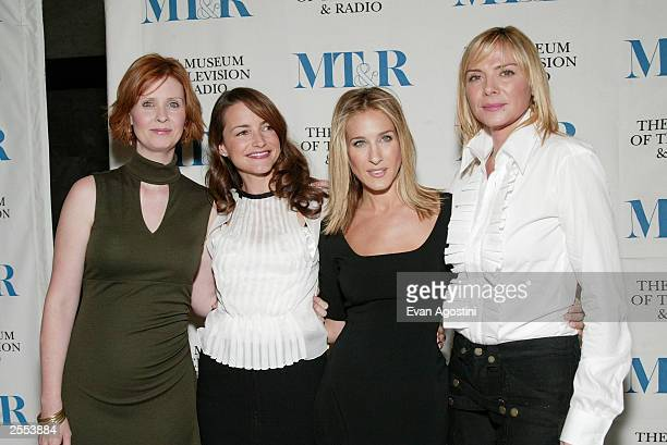 Costars Cynthia Nixon Kristin Davis Sarah Jessica Parker and Kim Cattrall attend A Museum of Television and Radio Seminar 'Sex and the City' at the...