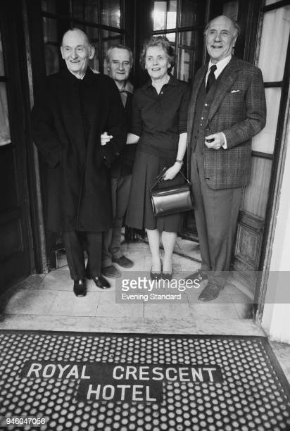Costars in the 'The Kingfisher' actors Alan Webb Celia Johnson and Ralph Richardson with its director Lindsay Anderson at the Royal Crescent Hotel...