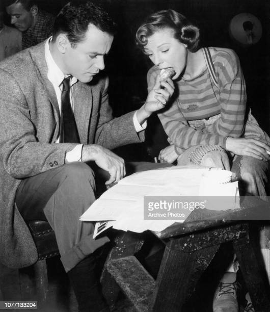 Costars Jack Lemmon and June Allyson share a snack on the set of the film 'You Can't Run Away From It' 1956