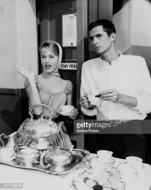 Costars Jane Fonda and Anthony Perkins on the set of the Warner Bros comedy 'Tall Story' circa 1960