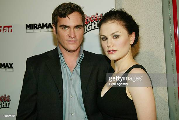 Costars Joaquin Phoenix and Anna Paquin pose together at the New York premiere of Miramax's 'Buffalo Soldiers' at the Orpheum July 21 2003 in New...