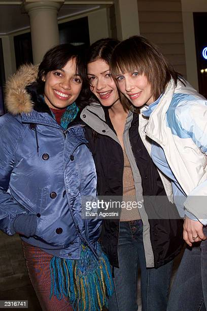 Costars Rosario Dawson Jill Hennessy and Vera Farmiga arrive at a party for their film Love In The Time Of Money at the 2002 Sundance Film Festival...
