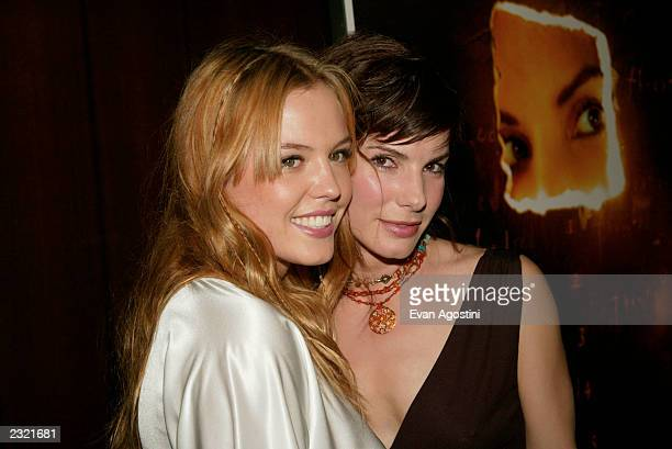 Costars Sandra Bullock and Agnes Bruckner arriving at the Murder By Numbers film premiere at the Ziegfeld Theatre in New York City April 16 2002...