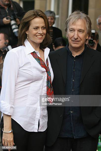 Costars Sigourney Weaver and Alan Rickman arriving at the Dominion Cinema in Edinburgh for the premiere of their latest film Snow Cake directed by...