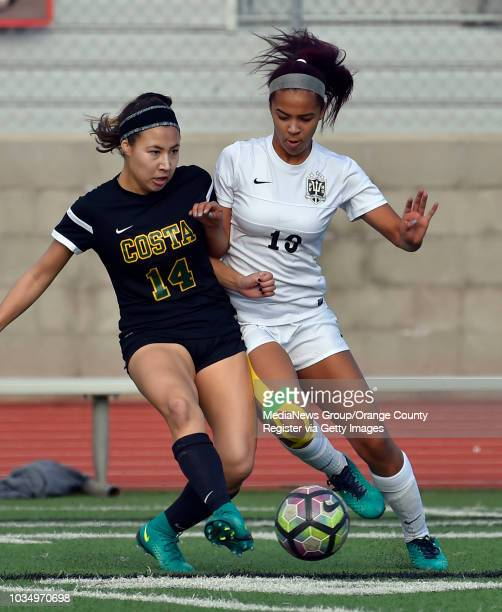 Costa's Allison Roth left and PV's Janessa Groves converge on the ball in Palos Verdes Estates CA on Friday January 13 2017 Mira Costa vs...