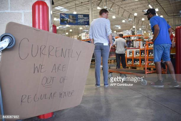 Costco ran out of water as people shop to prepare for Hurricane Irma on September 5 2017 in North Miami The monster hurricane coming on the heels of...
