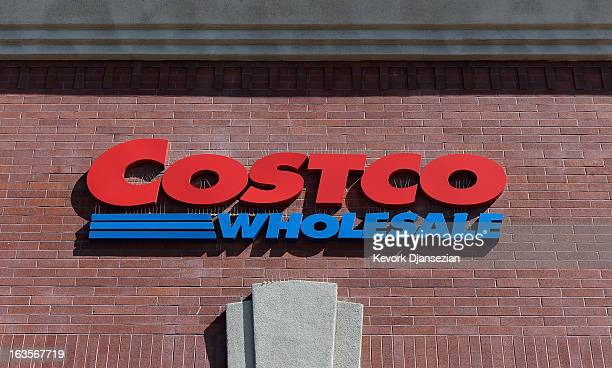 Costco sign is displayed on March 12 2013 in Los Angeles California Costco Wholesale Corp's profit beat expectations with a net income for the second...