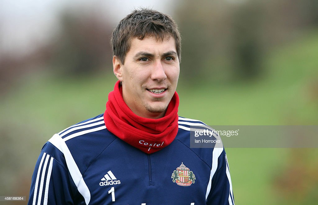 Costel Pantilimon during a Sunderland AFC Training Session at The Academy of Light on October 31, 2014 in Sunderland, England.