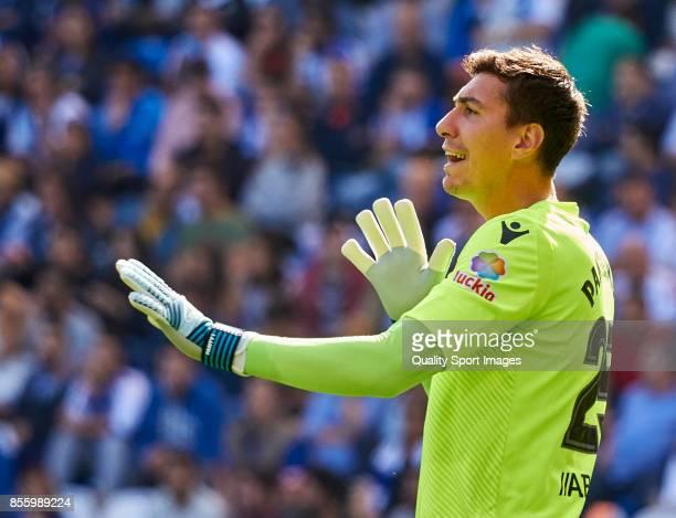 Costel Pantilimon of Deportivo de La Coruna reacts during the La Liga match between Deportivo La Coruna and Getafe at Abanca Riazor Stadium on...