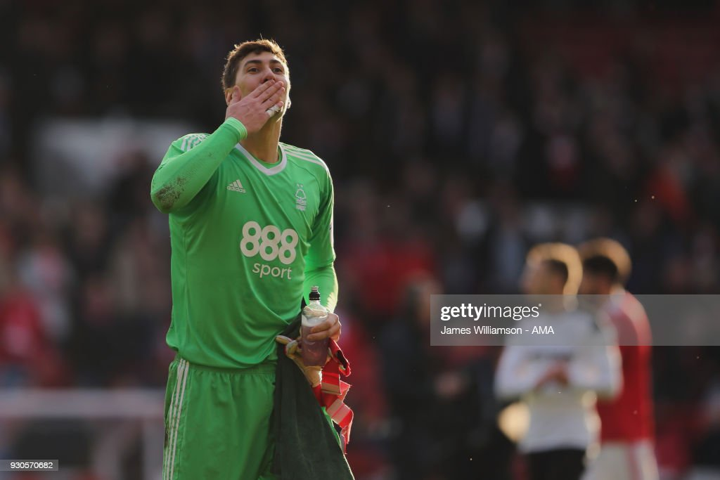 Costel Pantilimon of Nottingham Forest during the Sky Bet Championship match between Nottingham Forest and Derby County at City Ground on March 11, 2018 in Nottingham, England.