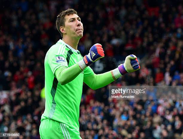 Costel Pantilimon of Sunderland celebrates after his team won 21 during the Barclays Premier League match between Sunderland and Southampton at...