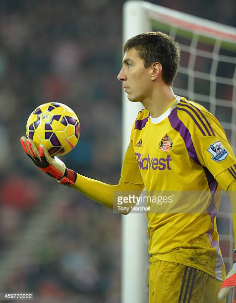 Costel Pantilimon of Sunderland during the Barclays Premier League match between Sunderland and Chelsea at the Stadium of Light on November 29 2014...