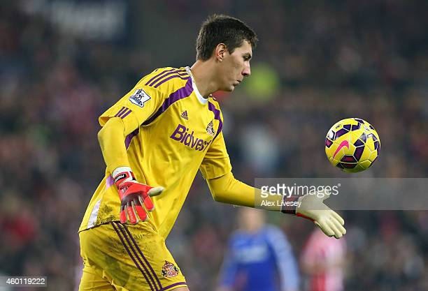 Costel Pantilimon of Sunderland during the Barclays Premier League match between Sunderland and Chelsea at Stadium of Light on November 29 2014 in...
