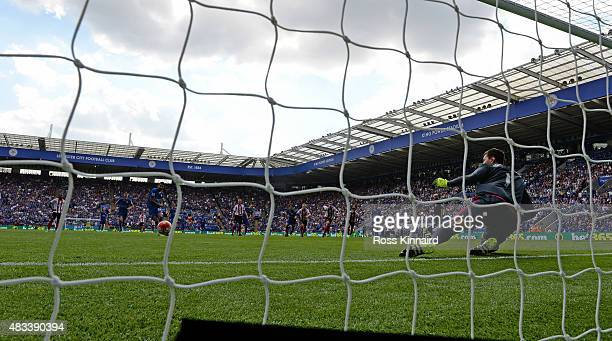 Costel Pantilimon of Sunderland fails to stop the penalty of Riyad Mahrez of Leicester City during the Barclays Premier League match between...
