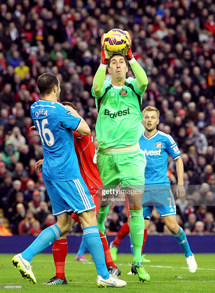 Costel Pantilimon of Sunderland gathers a cross during the Barclays Premier League match between Liverpool and Sunderland at Anfield Stadium on December 06, 2014 in Liverpool, England.