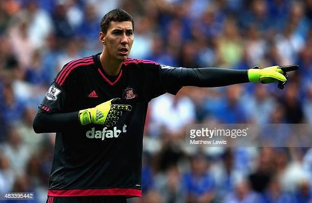 Costel Pantilimon of Sunderland in action during the Barclays Premier League match between Leicester City and Sunderland at The King Power Stadium on...