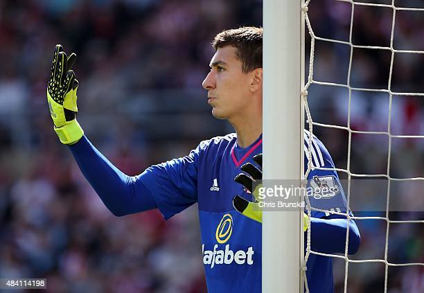 Costel Pantilimon of Sunderland in action during the Barclays Premier League match between Sunderland and Norwich City at Stadium of Light on August...