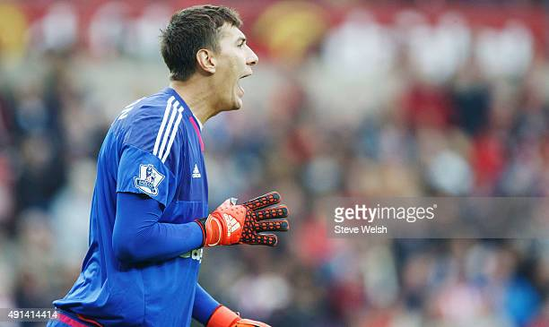 Costel Pantilimon of Sunderland in action during the Barclays Premier League match between Sunderland and West Ham United at the Stadium of Light on...