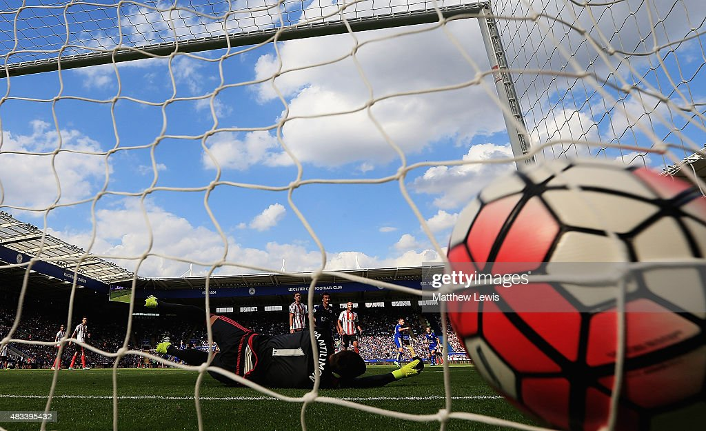 Costel Pantilimon of Sunderland is beaten by Marc Albrighton of LEicester City's shot during the Barclays Premier League match between Leicester City and Sunderland at The King Power Stadium on 8th August, 2015 in Leicester.