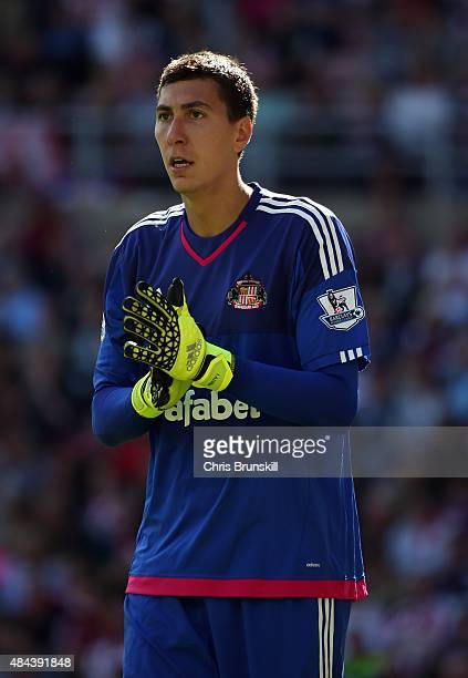 Costel Pantilimon of Sunderland looks on during the Barclays Premier League match between Sunderland and Norwich City at Stadium of Light on August...